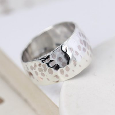 POM Wide Hammered Ring