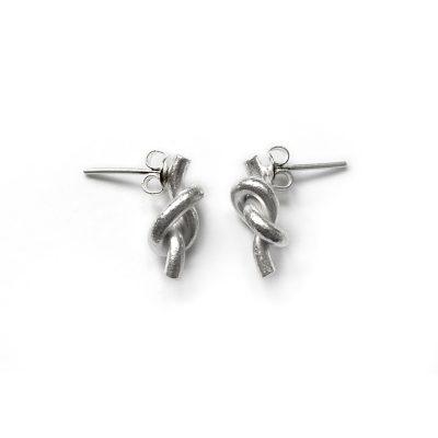 Silver Knot Stud Earrings