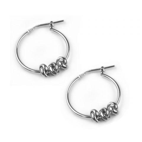 Silver Three Knots Earrings