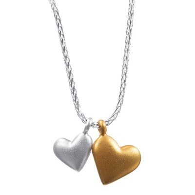 Silver Two Hearts Necklace
