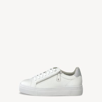 Tamaris White Leather Trainers